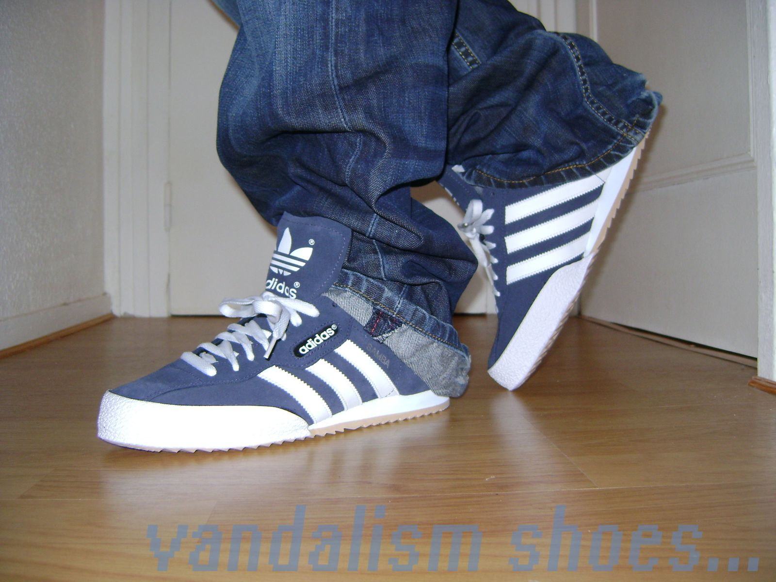 Adidas Navy & White Samba Super Suede Trainers -